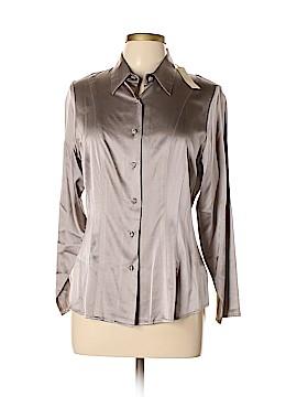 Nordstrom Studio 121 Long Sleeve Silk Top Size 12