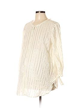 Ann Taylor LOFT Maternity 3/4 Sleeve Button-Down Shirt Size L (Maternity)