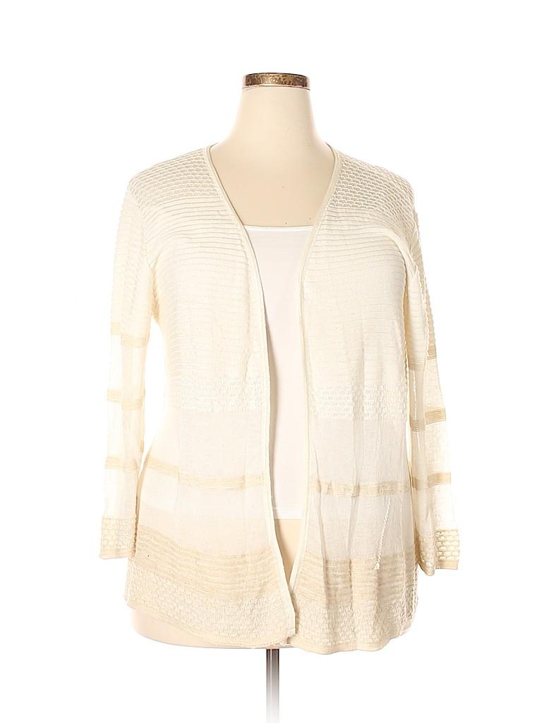 3353f8dc27f DressBarn 100% Acrylic Stripes Beige Cardigan Size 3X (Plus) - 88 ...