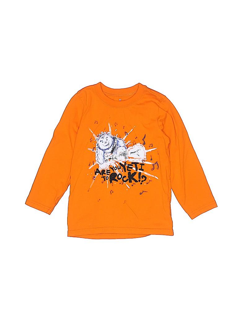 9894cbc5e The Children's Place 100% Cotton Graphic Orange Long Sleeve T-Shirt ...