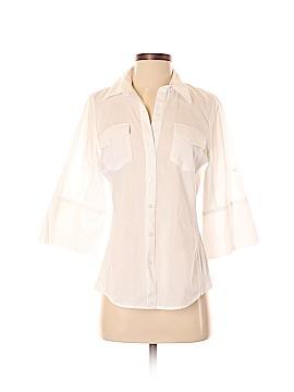 Sandra Ingrish 3/4 Sleeve Button-Down Shirt Size S