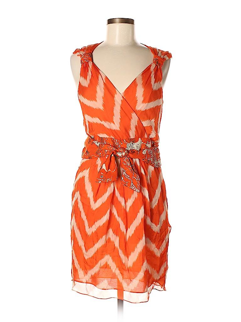 0d6fd2adb60 Milly 100% Silk Print Orange Cocktail Dress Size 6 - 65% off