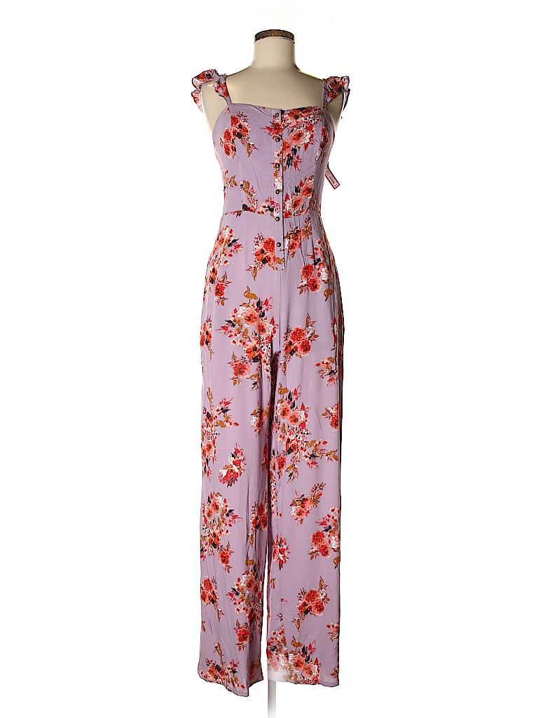 3d42a58a6f8 Xhilaration 100% Polyester Floral Purple Jumpsuit Size XS - 33% off ...