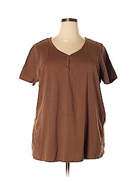 Roaman's Short Sleeve Henley Size 22 (1X) (Plus)