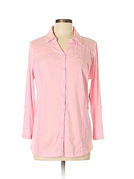 Kim Rogers 3/4 Sleeve Button-Down Shirt Size L