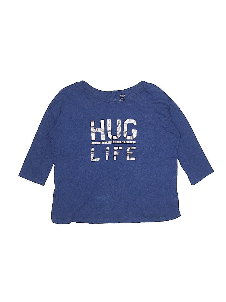 d534c37866bbd4 Old Navy 100% Cotton Metallic Graphic Dark Blue 3 4 Sleeve T-Shirt ...