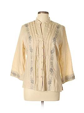Susan Bristol 3/4 Sleeve Button-Down Shirt Size L