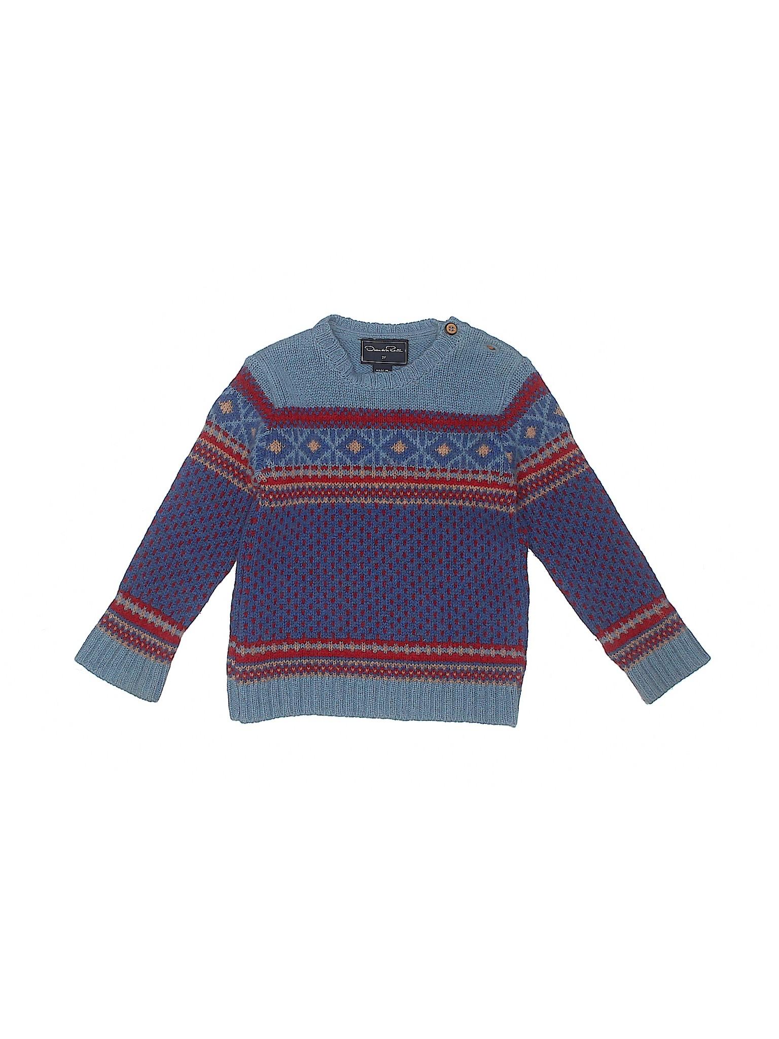 1fc88ed523b Oscar De La Renta 100% Virgin Wool Print Dark Blue Wool Pullover ...