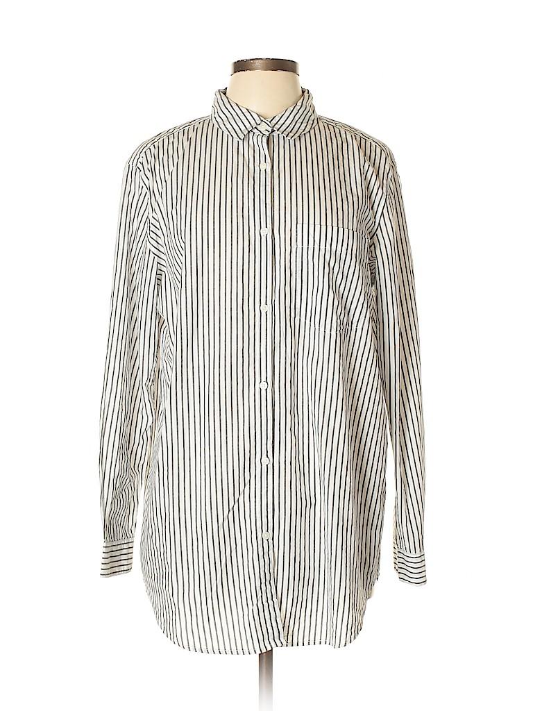 22c9581703e8 H M L.O.G.G. 100% Cotton Stripes Gray Long Sleeve Button-Down Shirt ...