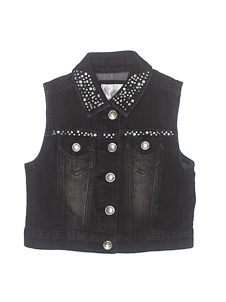 97eb60f287 Justice Solid Black Denim Vest Size 8 - 60% off