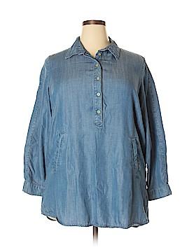 Andrea Jovine Long Sleeve Button-Down Shirt Size 1X (Plus)
