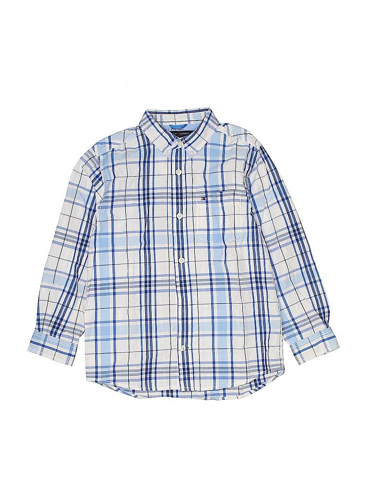 1fe82b78b2c0 Tommy Hilfiger 100% Cotton Plaid White Long Sleeve Button-Down Shirt ...