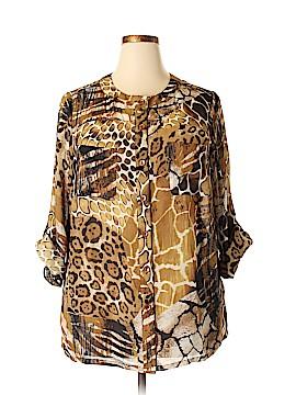 Susan Graver Long Sleeve Button-Down Shirt Size 1X (Plus)