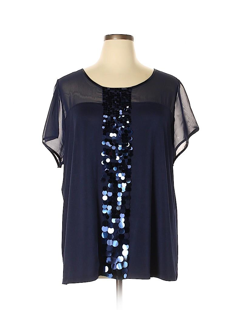 3396468f2e2 Lane Bryant Solid Navy Blue Short Sleeve Blouse Size 28 - 26 Plus ...