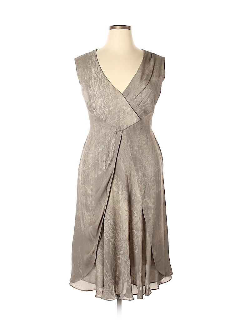 Giorgio Armani 100% Silk Solid Gray Casual Dress Size 46 (IT) - 82 ...