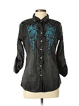 Roar Long Sleeve Button-Down Shirt Size L