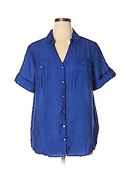 Roz & Ali Short Sleeve Button-Down Shirt Size 2X (Plus)