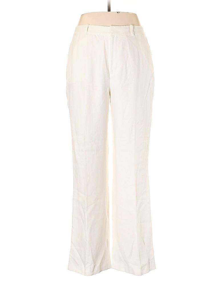 f2226ca0a Lauren by Ralph Lauren 100% Linen Solid White Linen Pants Size 12 ...