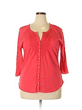 Nine West Vintage America 3/4 Sleeve Button-Down Shirt Size XXL
