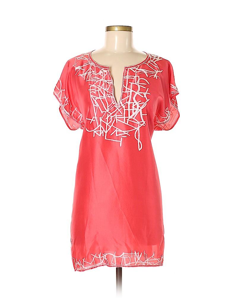 14da1c3d4e0e3 Oscar De La Renta 100% Silk Print Coral Short Sleeve Silk Top Size M ...