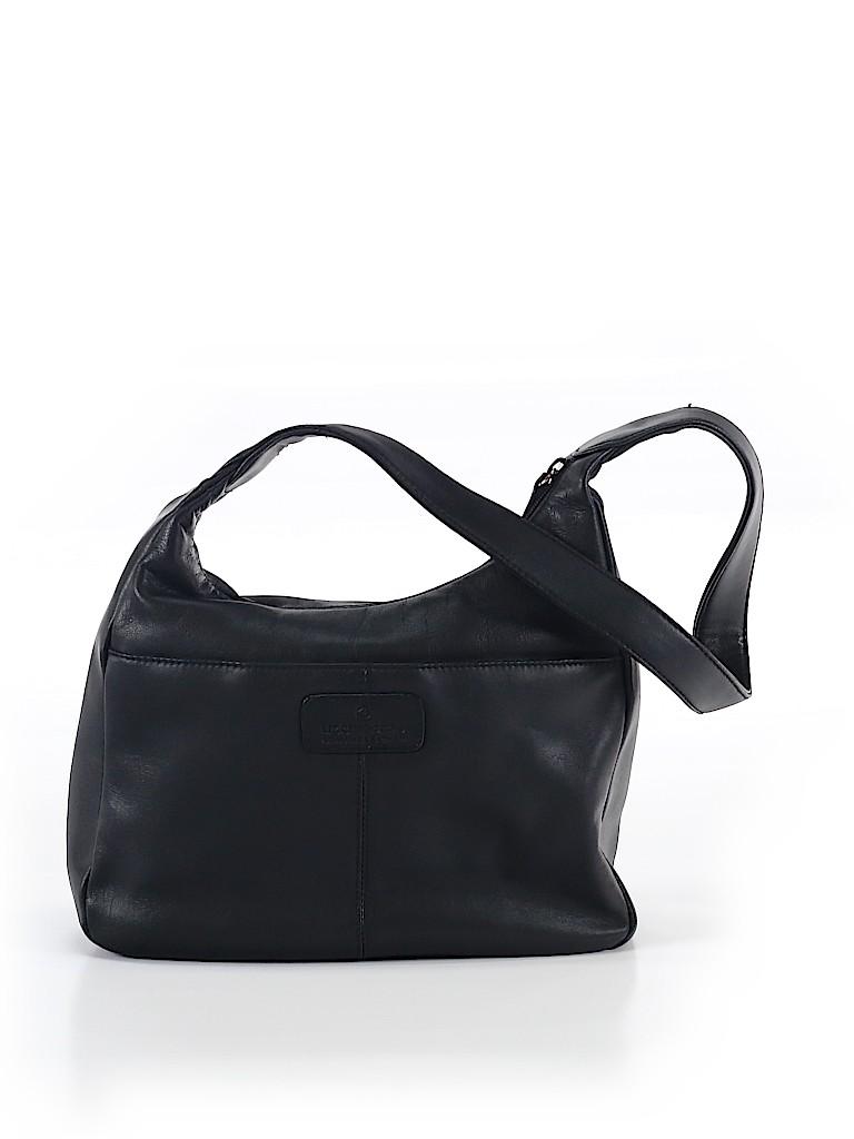 82cc68547515 Liz Claiborne 100% Leather Solid Black Leather Shoulder Bag One Size ...