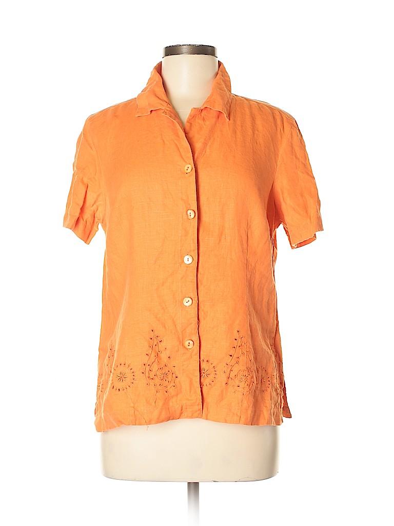 Units Women Short Sleeve Button-Down Shirt Size M