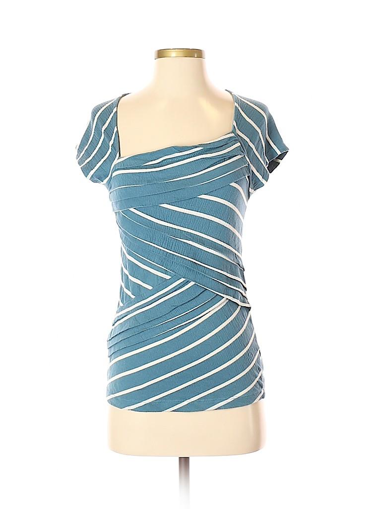 5b6f1bd01e05 Anthropologie Stripes Teal Short Sleeve Top Size S - 68% off | thredUP