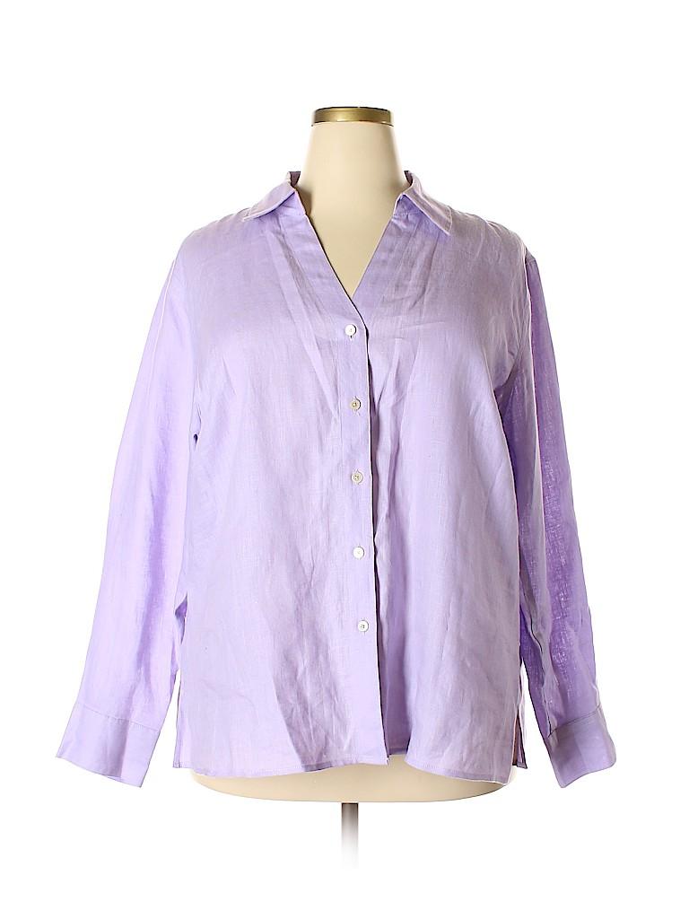 cc7da43a555 Talbots 100% Linen Solid Light Purple Long Sleeve Button-Down Shirt ...