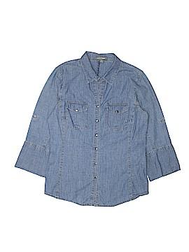 Go Silk Long Sleeve Button-Down Shirt Size M