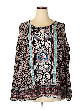 Tolani Long Sleeve Silk Top Size 2X (Plus)