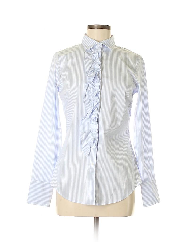 6aac9f0e Banana Republic 100% Cotton Stripes Blue Long Sleeve Button-Down ...