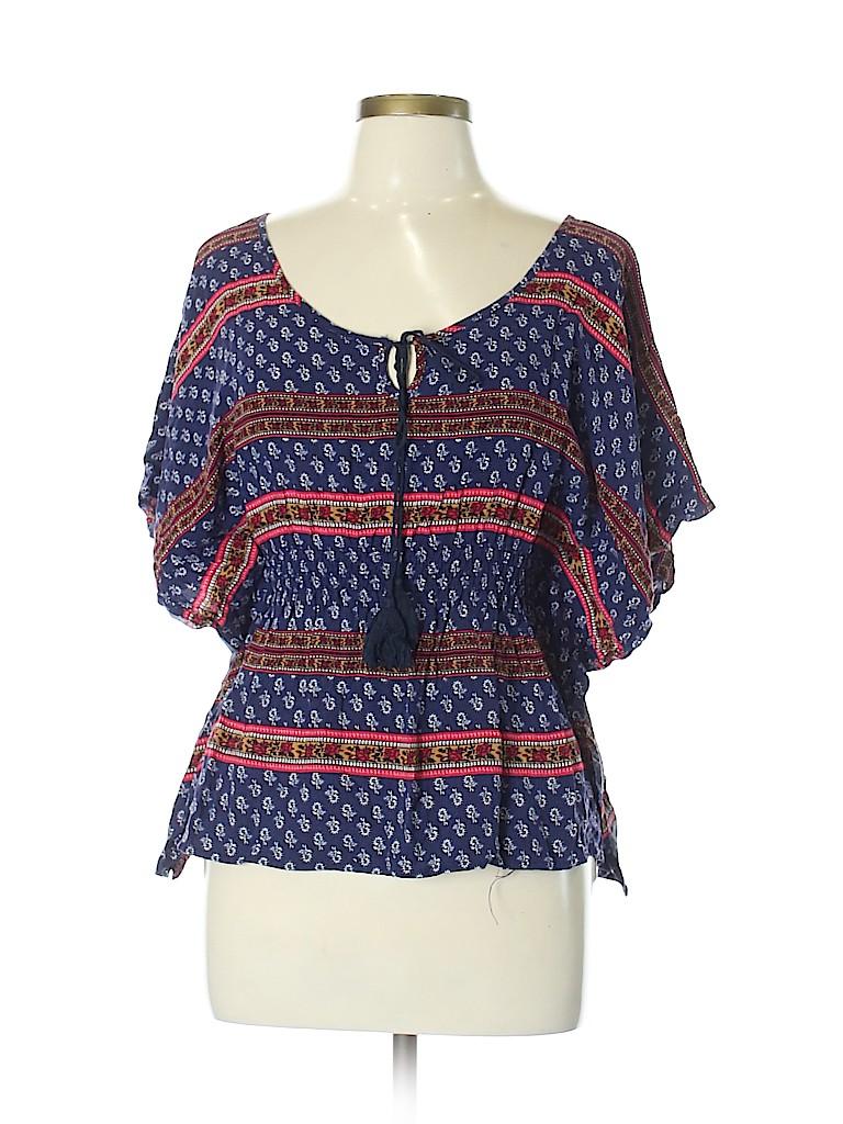 1f81051e0b37a7 Heart Hips 100% Rayon Print Dark Blue Short Sleeve Blouse Size L ...