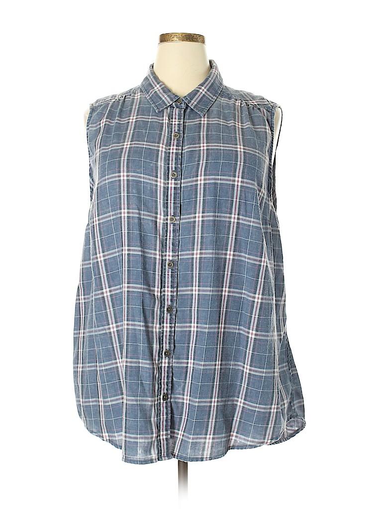 76b8a054ed2 Torrid Plaid Blue Sleeveless Button-Down Shirt Size 3X Plus (3 ...