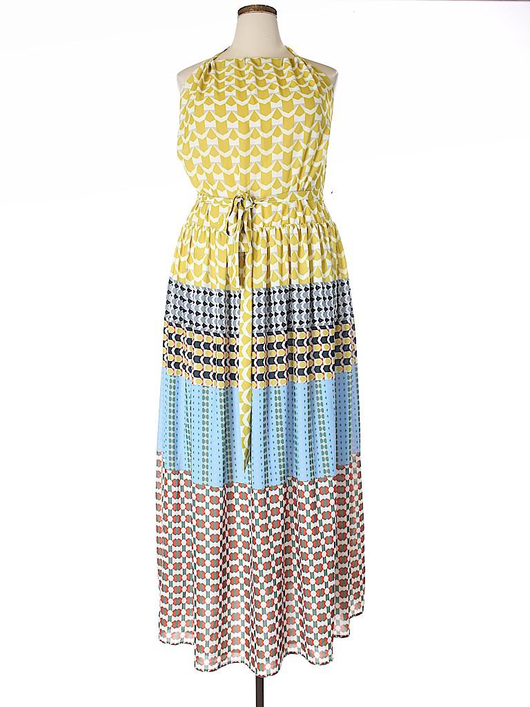 7dcab840e82 ELOQUII 100% Polyester Print White Casual Dress Size 20 (Plus) - 67 ...