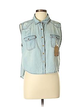 ChiQle Denim Architect Short Sleeve Button-Down Shirt Size XL