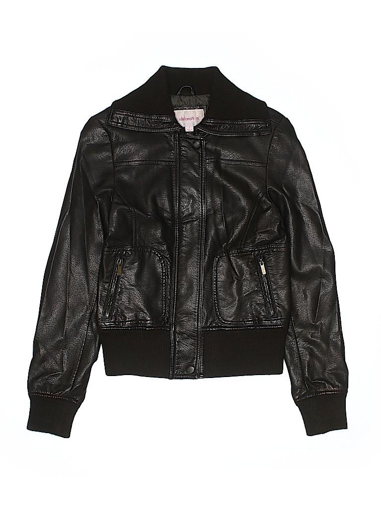 2c8d5e3505f23 Xhilaration 100% Rayon Solid Black Faux Leather Jacket Size S - 61 ...