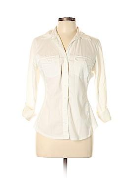 Signature by Larry Levine 3/4 Sleeve Button-Down Shirt Size L (Petite)