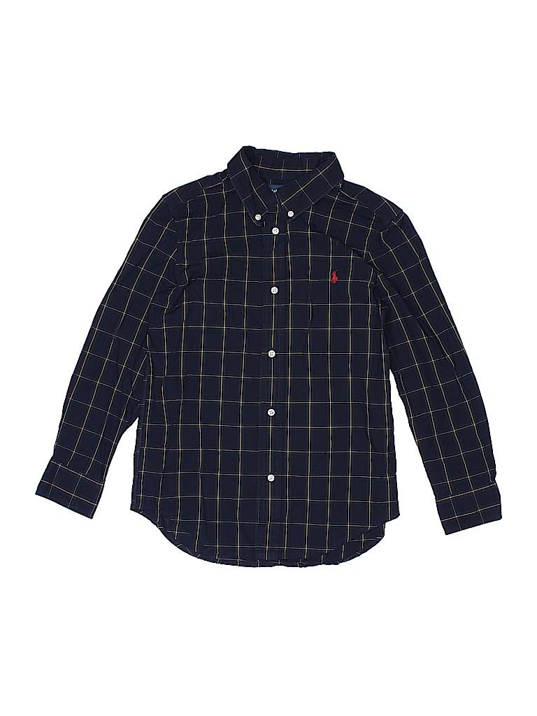 5308343b7032 Ralph Lauren 100% Cotton Checkered Gingham Navy Blue Long Sleeve ...
