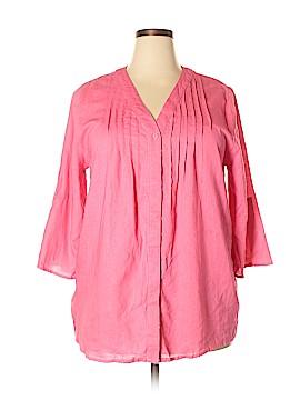 Susan Bristol 3/4 Sleeve Button-Down Shirt Size 1X (Plus)