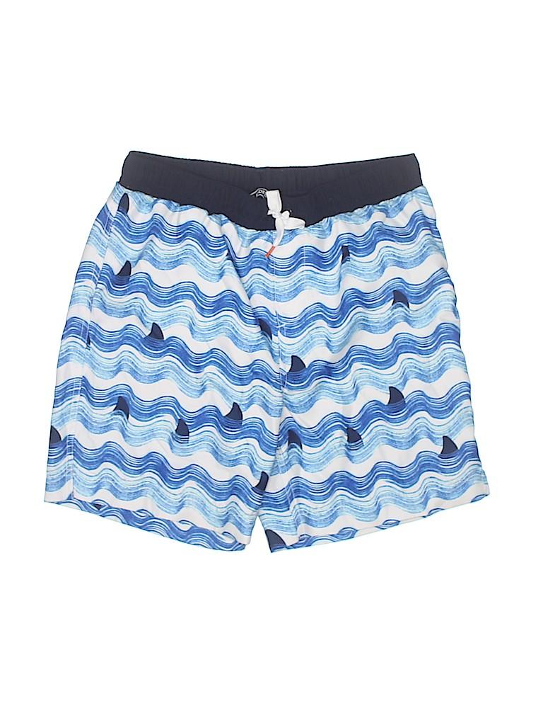 a63ffd32d2cbf Lands' End 100% Polyester Print Navy Blue Board Shorts Size M (Kids ...