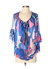 Diane von Furstenberg Women 3/4 Sleeve Silk Top Size 4