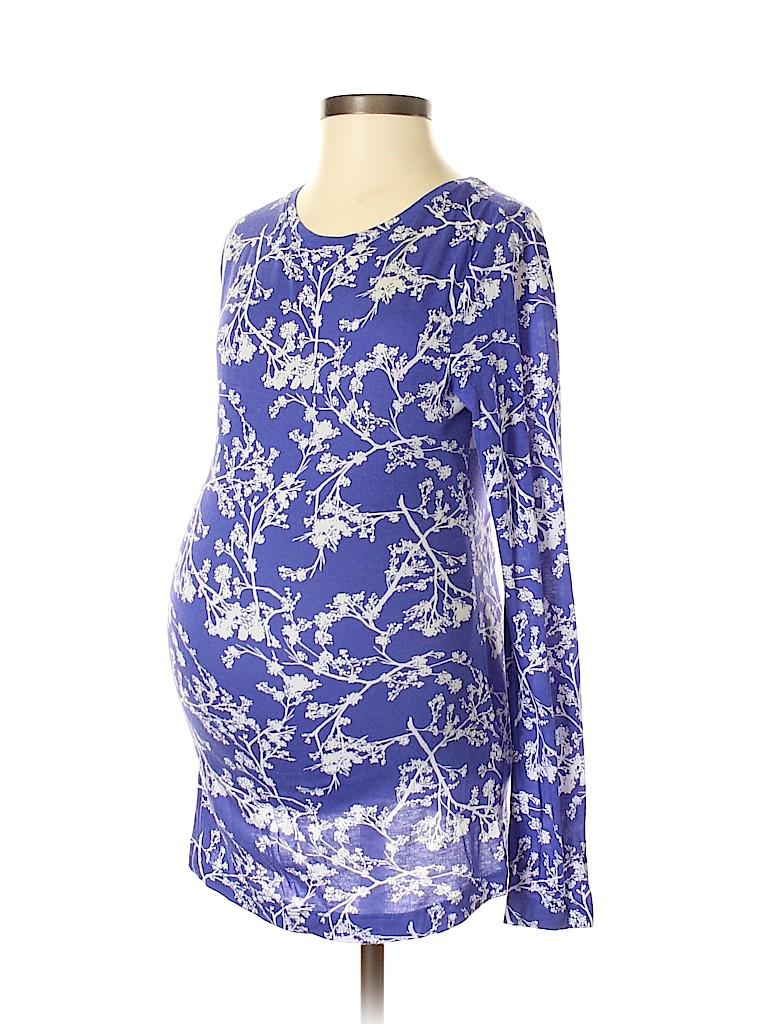 56fb0061f07 Liz Lange Maternity Floral Purple Long Sleeve T-Shirt Size XS ...