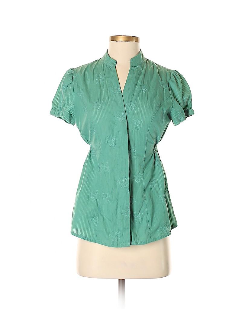 2918deda Apt. 9 Floral Stripes Green Short Sleeve Button-Down Shirt Size S ...