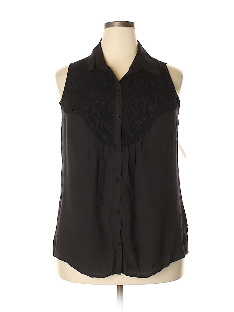 NY Collection Women Sleeveless Button-Down Shirt Size 1X (Plus)