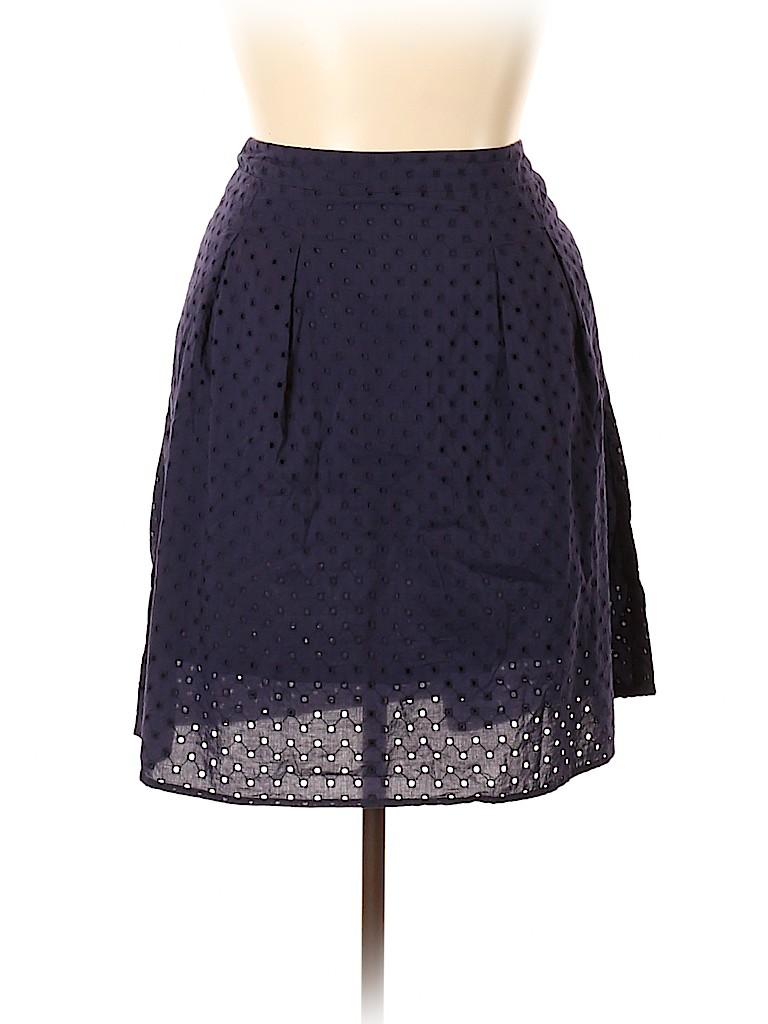 e714fe0cded Ann Taylor LOFT 100% Cotton Crochet Dark Blue Casual Skirt Size 16 ...