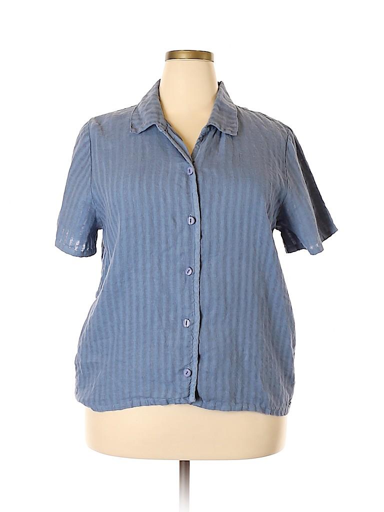 Hot Cotton Women Short Sleeve Button-Down Shirt Size XL