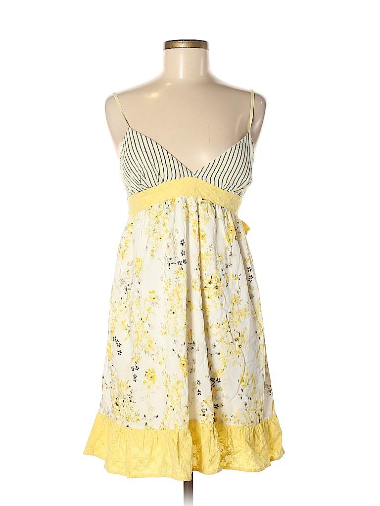 e44b357148d Charlotte Russe 100% Cotton Floral Stripes White Casual Dress Size 7 ...