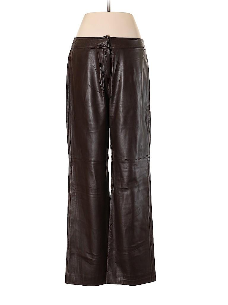 775d83ddebd Oscar De La Renta 100% Leather Solid Brown Leather Pants Size 6 - 86 ...