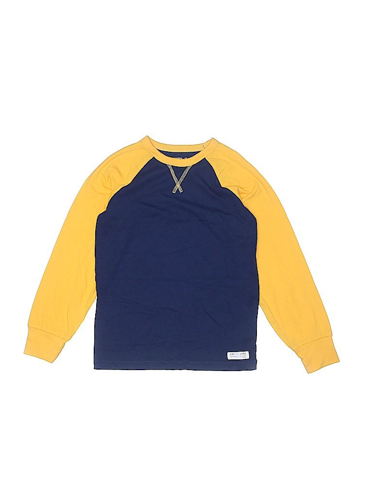 72b3b3d03bfa Gap Kids Outlet 100% Cotton Color Block Navy Blue Long Sleeve T ...