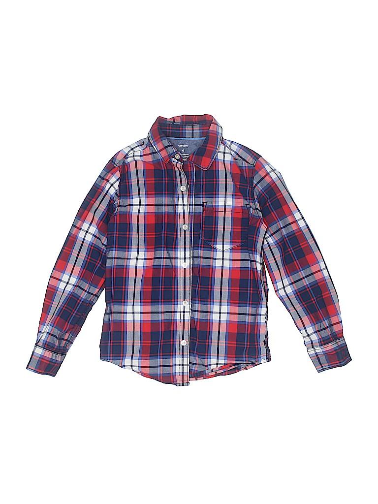 72aef90a Carter's 100% Cotton Plaid Navy Blue Long Sleeve Button-Down Shirt ...